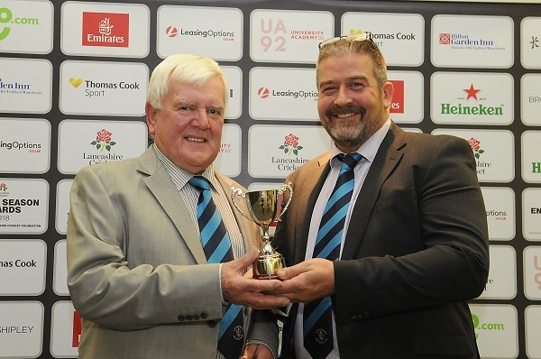 President Tom Howarth and Vice Chair Jim Blackhurst with the Lancashire County Cricket club of the year award